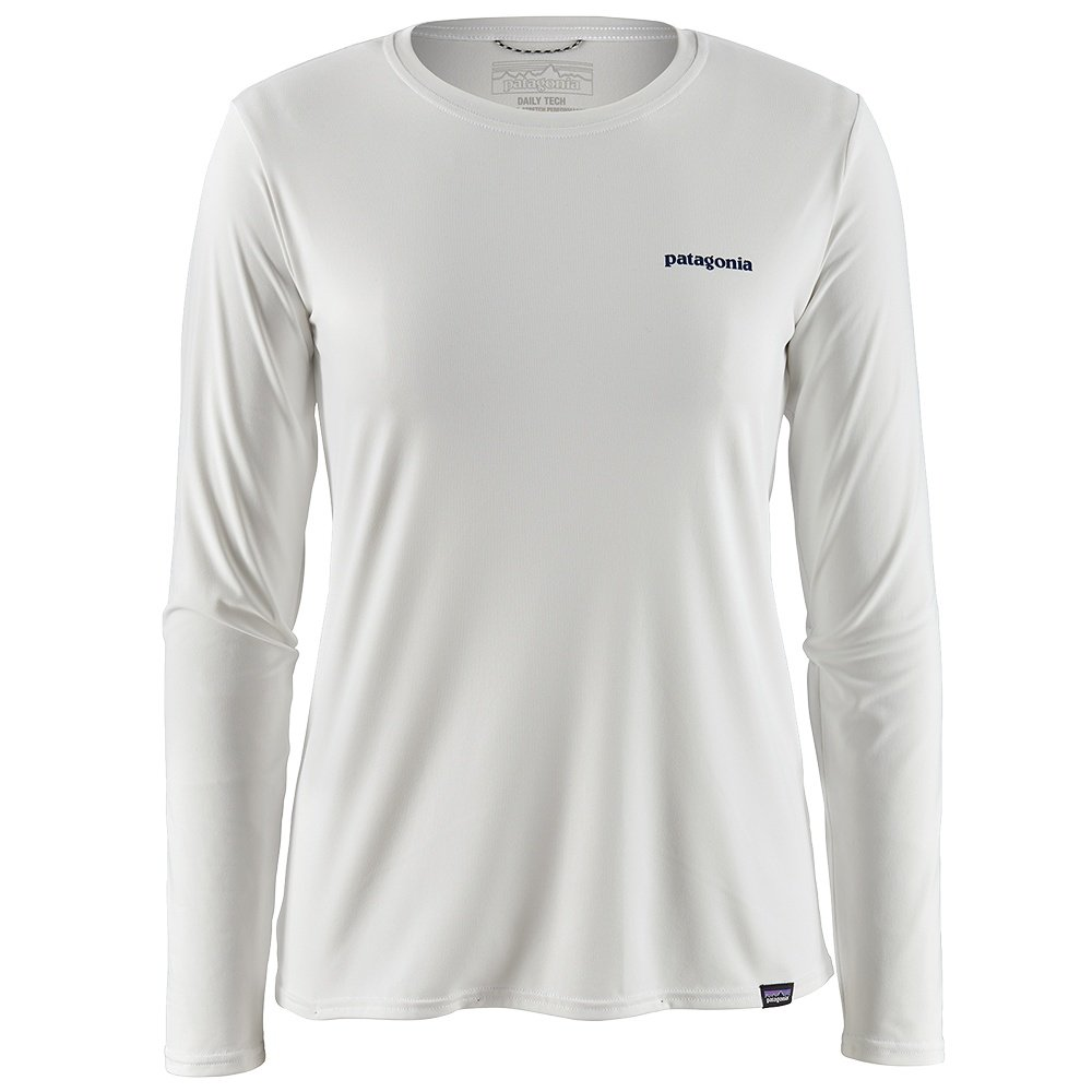 Patagonia Capilene Cool Daily Graphic Long Sleeve Shirt (Women's) - White/Boardshort Logo
