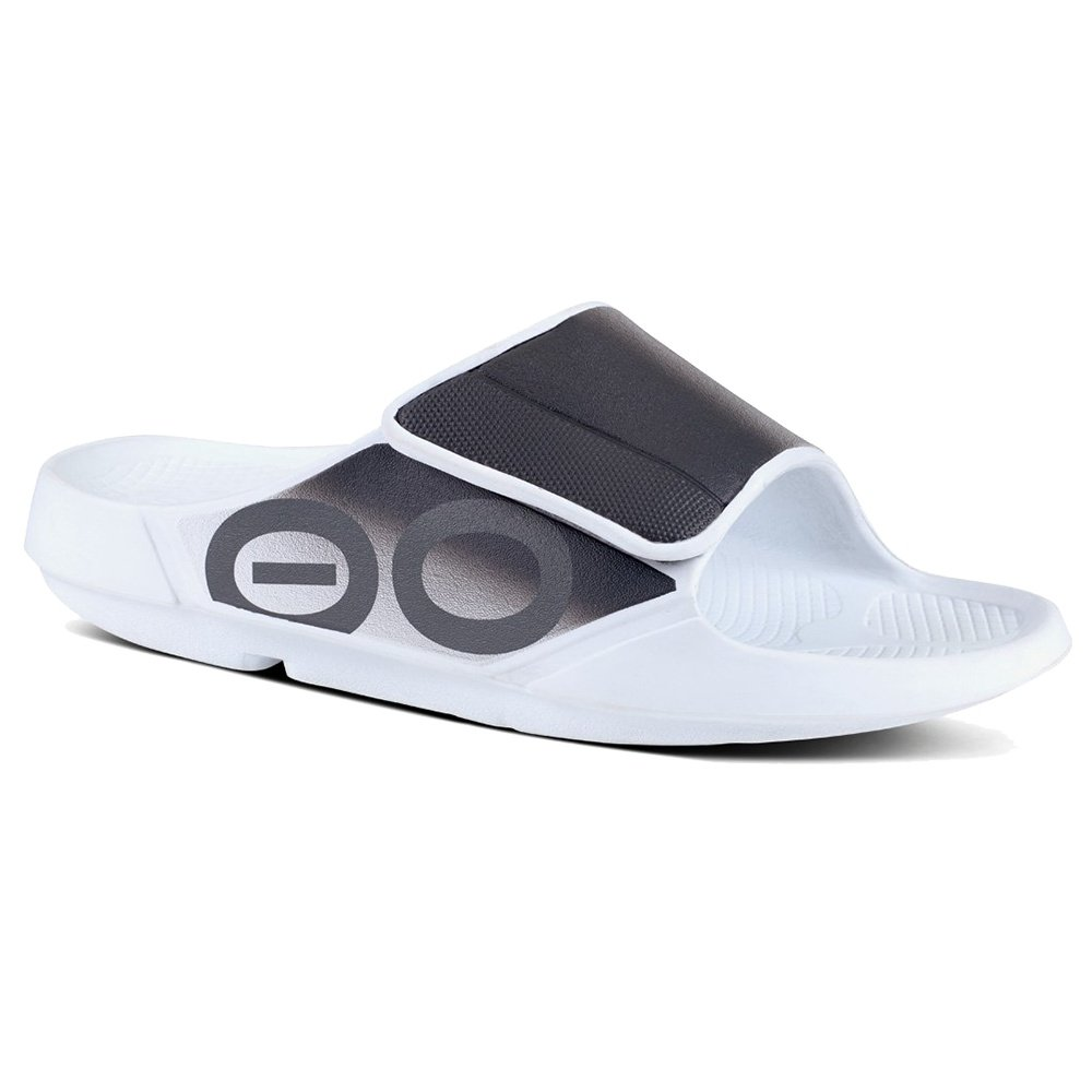OOFOS OOahh Sport Flex Sandals (Adults') - White/Black