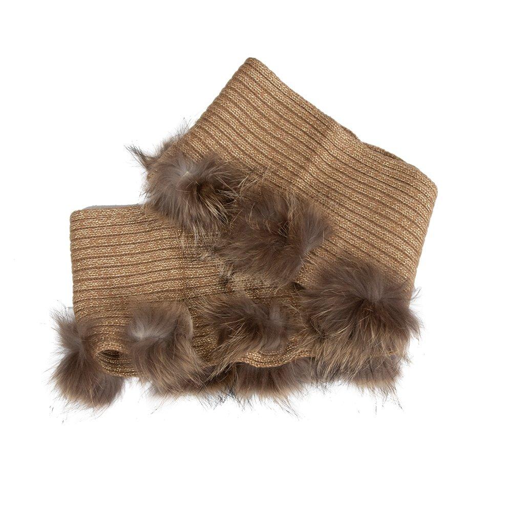 Peter Glenn Multi Pom Knit Scarf (Women's) - Gold/Finn