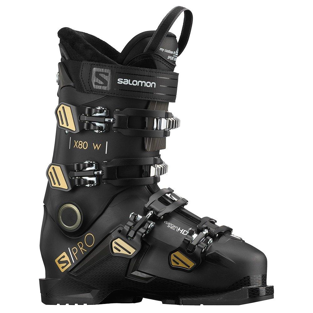 Salomon S/Pro X80 Ski Boot (Women's) - Black/Beluga/Gold