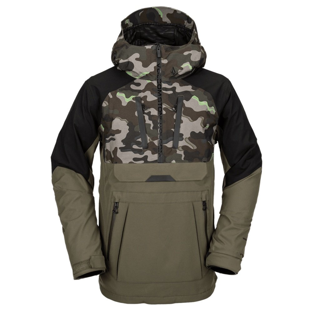 Volcom Brighton Pullover Shell Snowboard Jacket (Men's) - Army Camo
