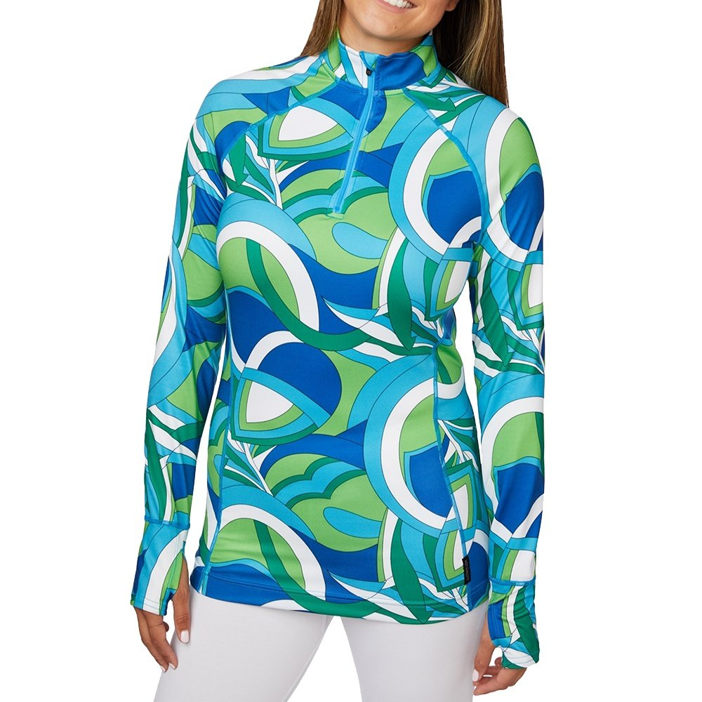 Hot Chillys Micro-Elite Fiesta Print Zip-T Baselayer Top (Women's) - 70s Tangy Lime