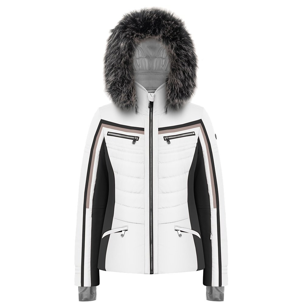 Poivre Blanc Clay Insulated Ski Jacket with Faux Fur (Women's) - Multico White