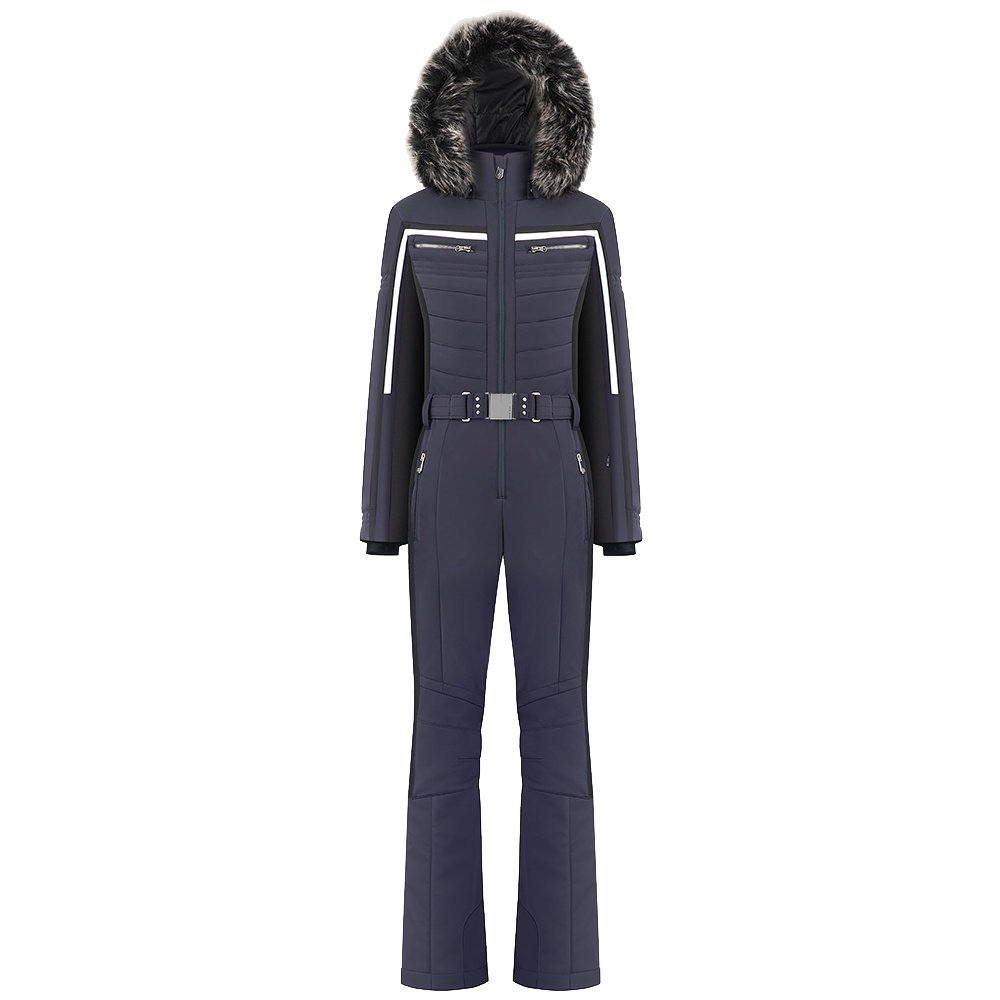 Poivre Blanc Natalie Stretch Insulated Ski Suit with Faux Fur (Women's) - Multico Gothic Blue
