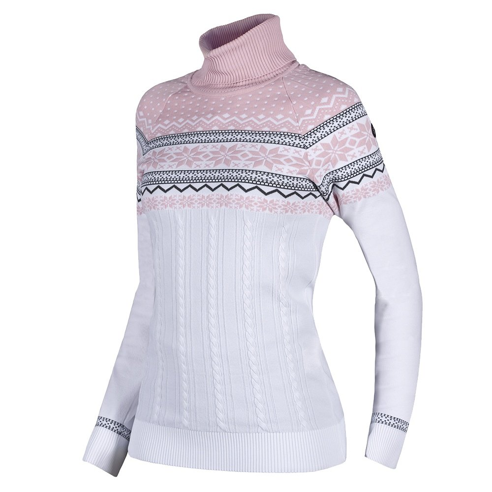 Newland Saas Fee Turtleneck Sweater (Women's) - White/Powder Pink