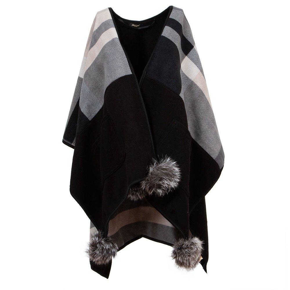 Peter Glenn Plaid Pocket Fleece Wrap with Poms (Women's) - Grey