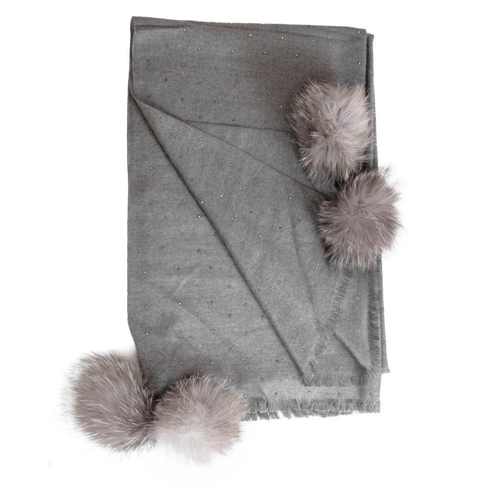 Peter Glenn Paris Woven Wrap with Poms (Women's) - Grey/Grey Fox