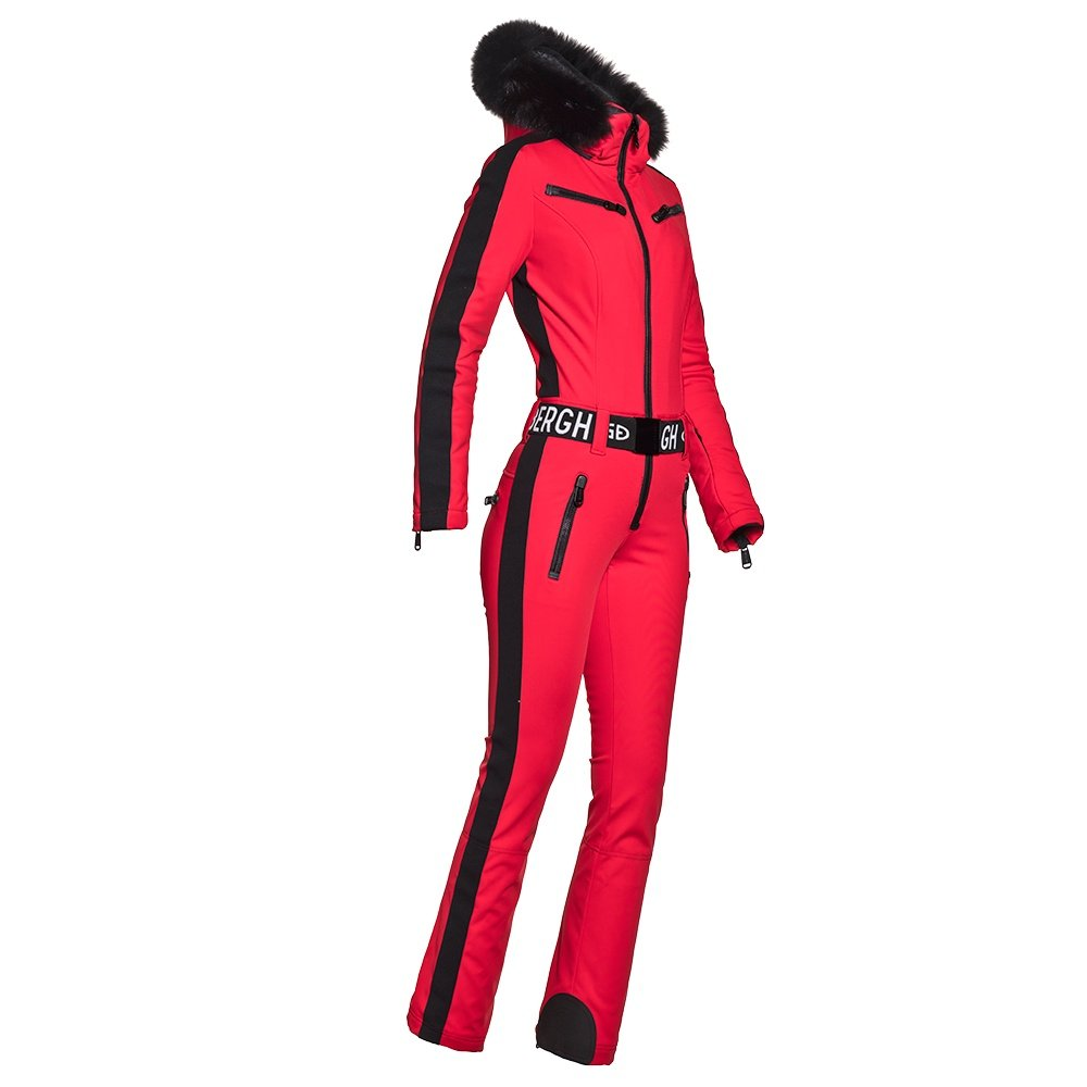 Goldbergh Empress Softshell Ski Suit with Real Fur (Women's) - Ruby Red