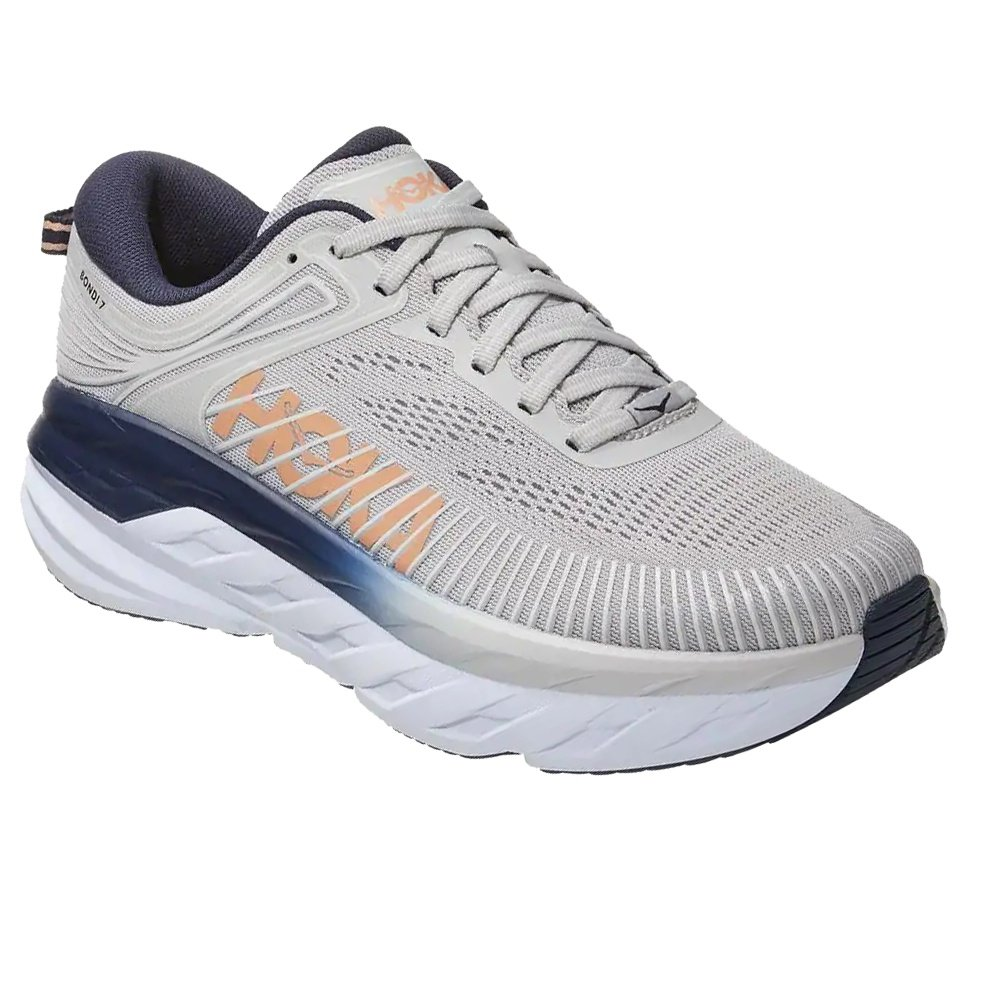 Hoka One One Bondi 7 Wide Running Shoe (Women's) - Lunar Rock/Black Iris