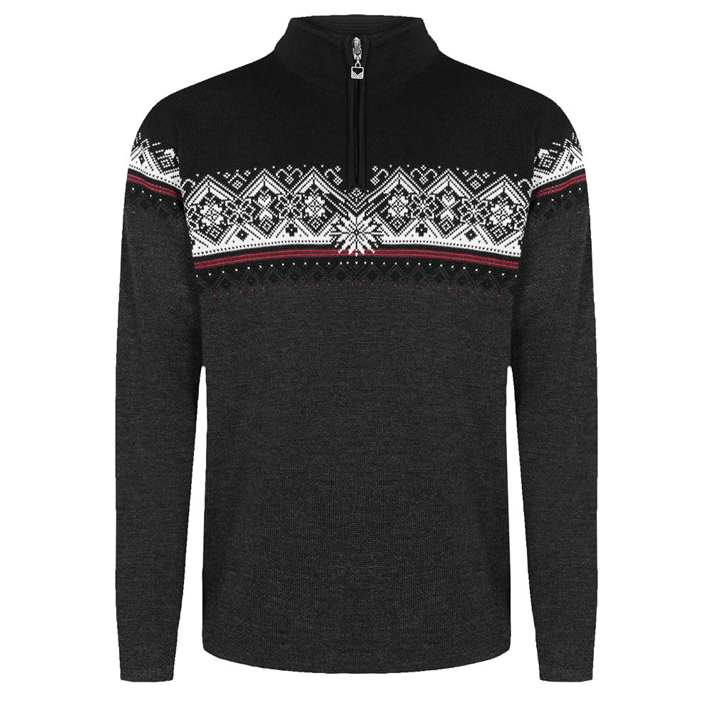 Dale of Norway Moritz Sweater (Men's) - Dark Charcoal/Raspberry/Off White