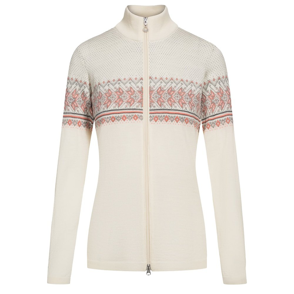 Dale of Norway Hovden Full Zip Sweater (Women's) - Off White/Coral/Charcoal