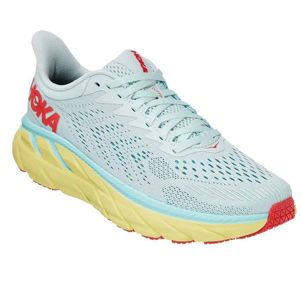 Hoka One One Clifton 7 Wide Running Shoe (Women's) - Morning Mist/Hot Coral