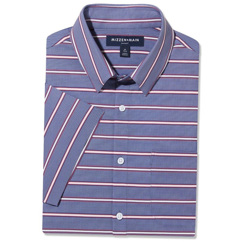 Mizzen + Main Leeward Shortsleeve Shirt (Men's) - Chambray Stripe Blue