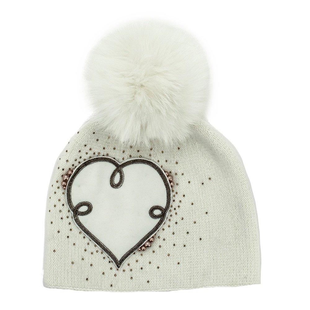 Peter Glenn Heart Hat with Pom (Women's) - White