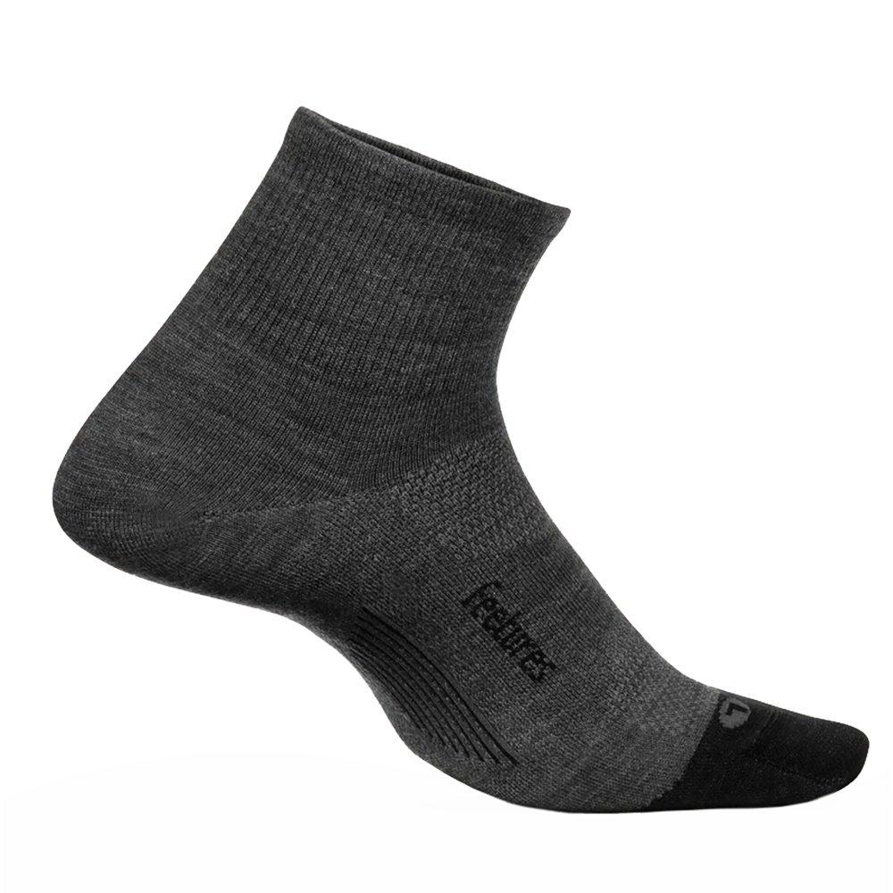 Feetures Merino 10 Cushion Quarter Running Sock - Gray
