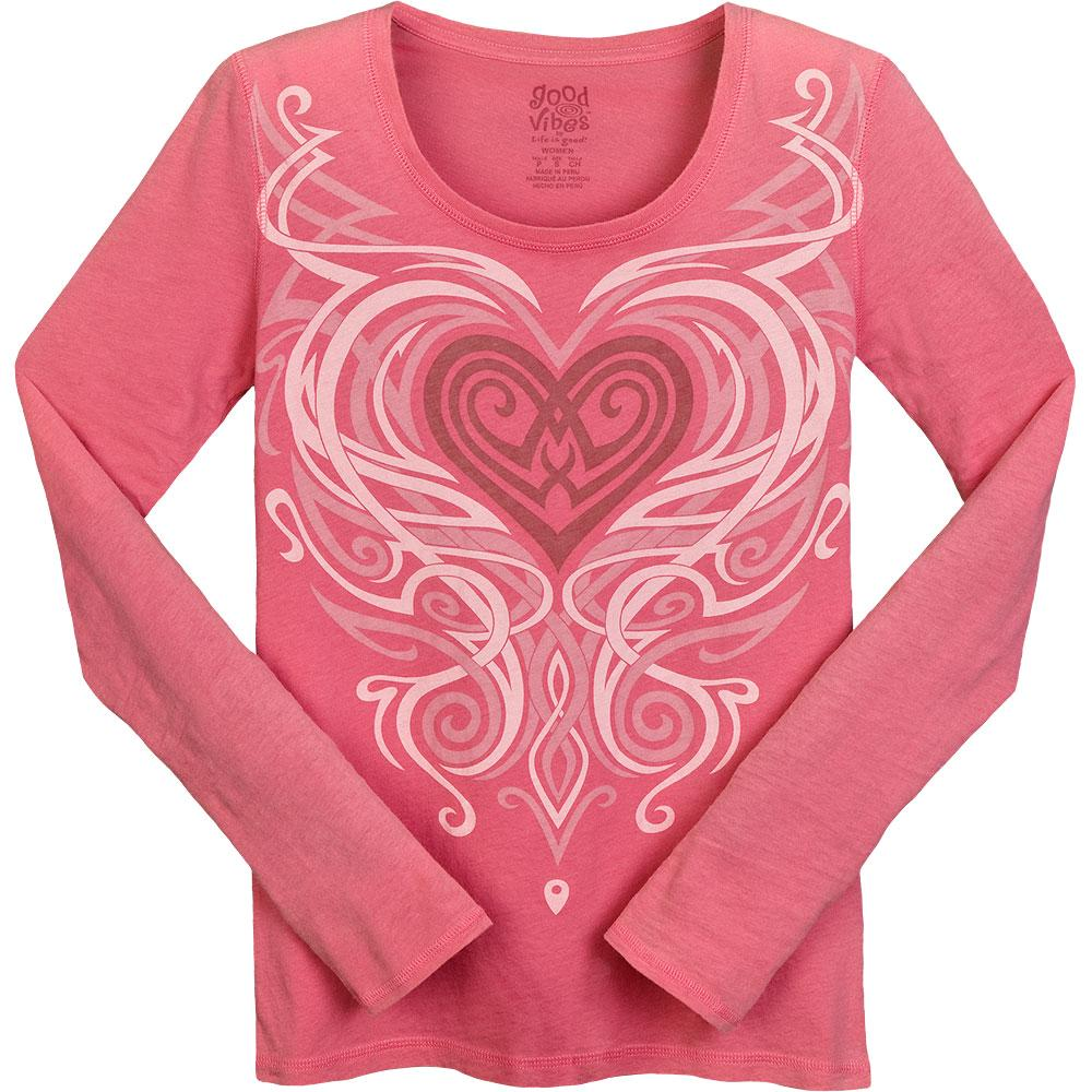 Life Is Good Good Vibes Scroll Heart Long Sleeve T Shirt