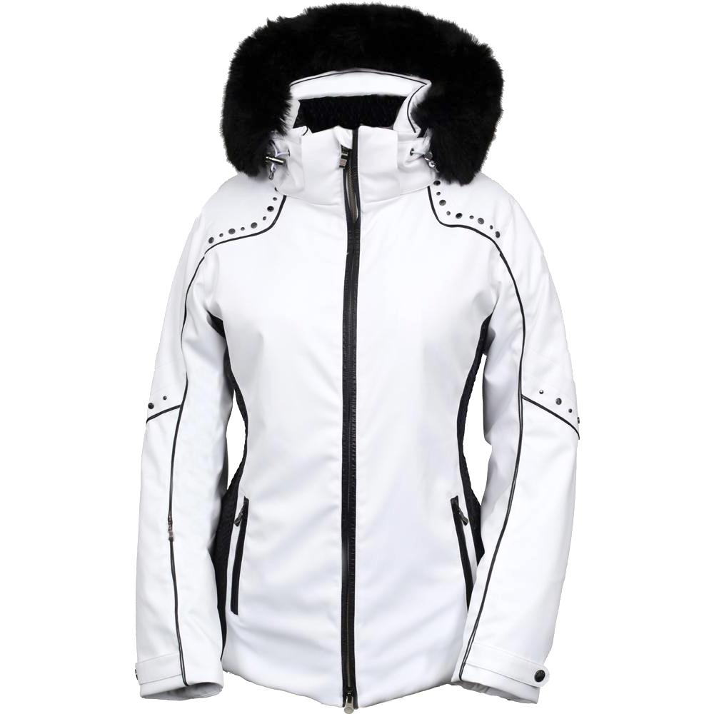 Womens black faux fur ski jacket