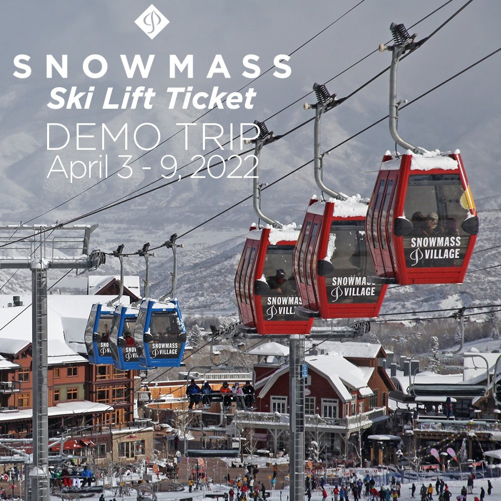 Aspen Snowmass Lift Tickets for Peter Glenn 2022 Demo Ski Trip April 3 - 9, 2022 -