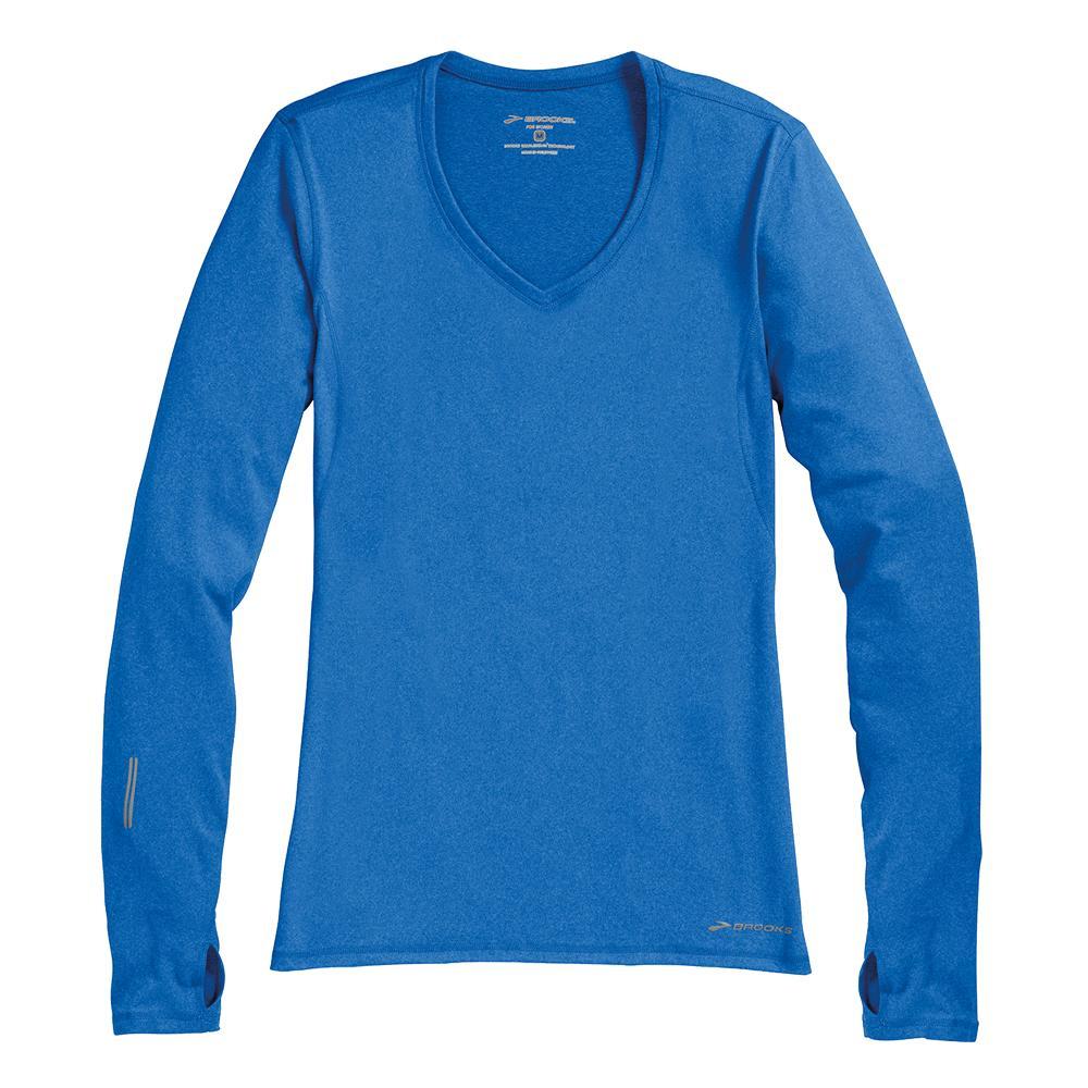 Brooks essential long sleeve v neck running shirt women 39 s for Long sleeve running shirt womens