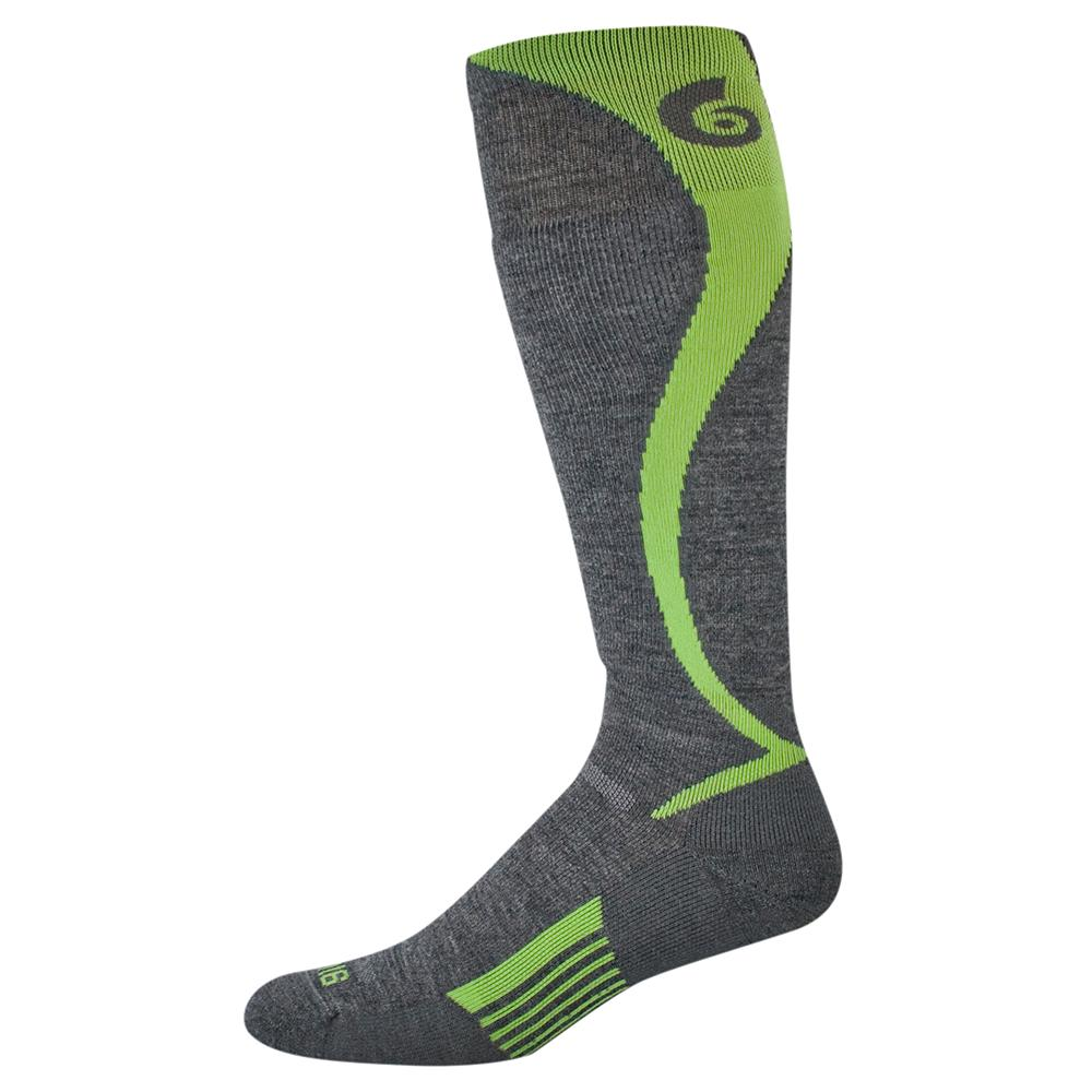 Point6 Ski Carve Over the Calf Ultralight Ski Sock (Adults') - Gray/Bright Lime