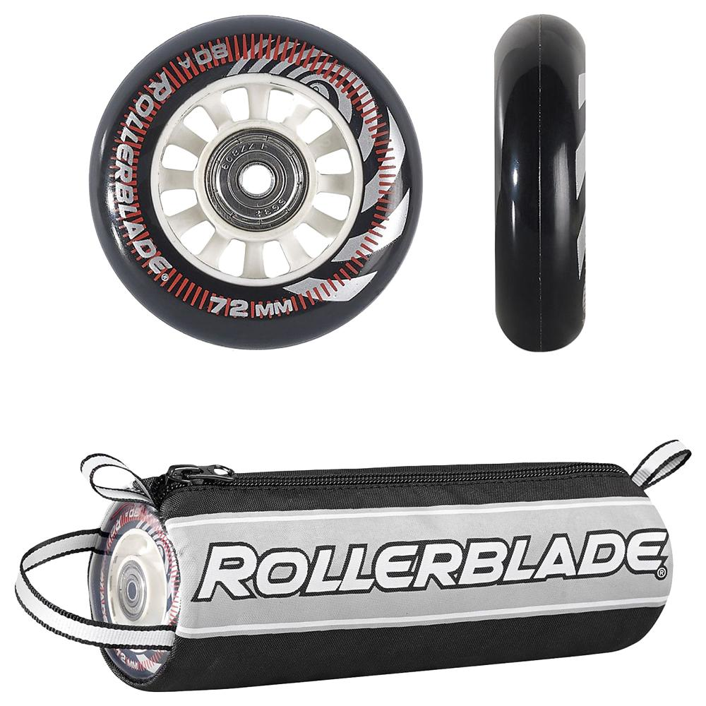 Rollerblade 72mm Inline Skate Wheel and Bearing 8-Pack Kit - Clear