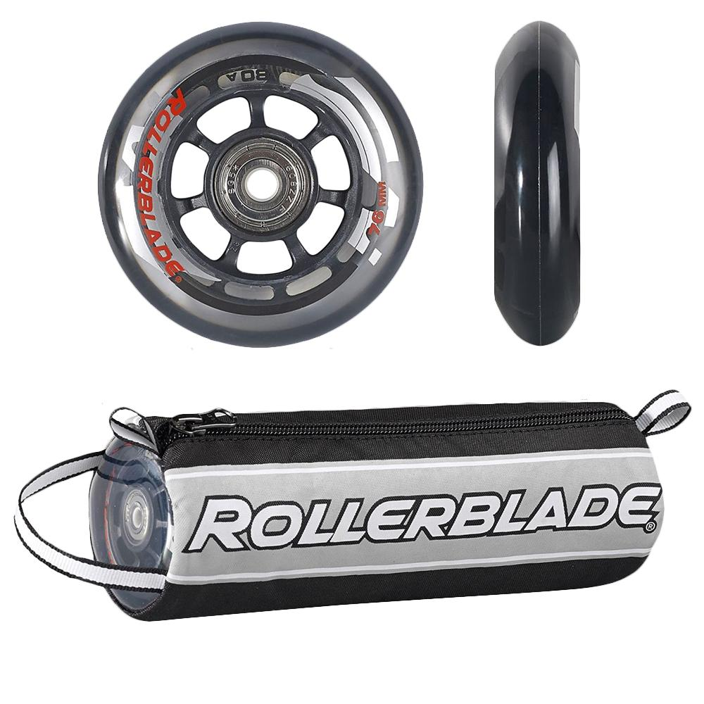 Rollerblade 76mm Inline Skate Wheel and Bearing 8-Pack Kit - Clear