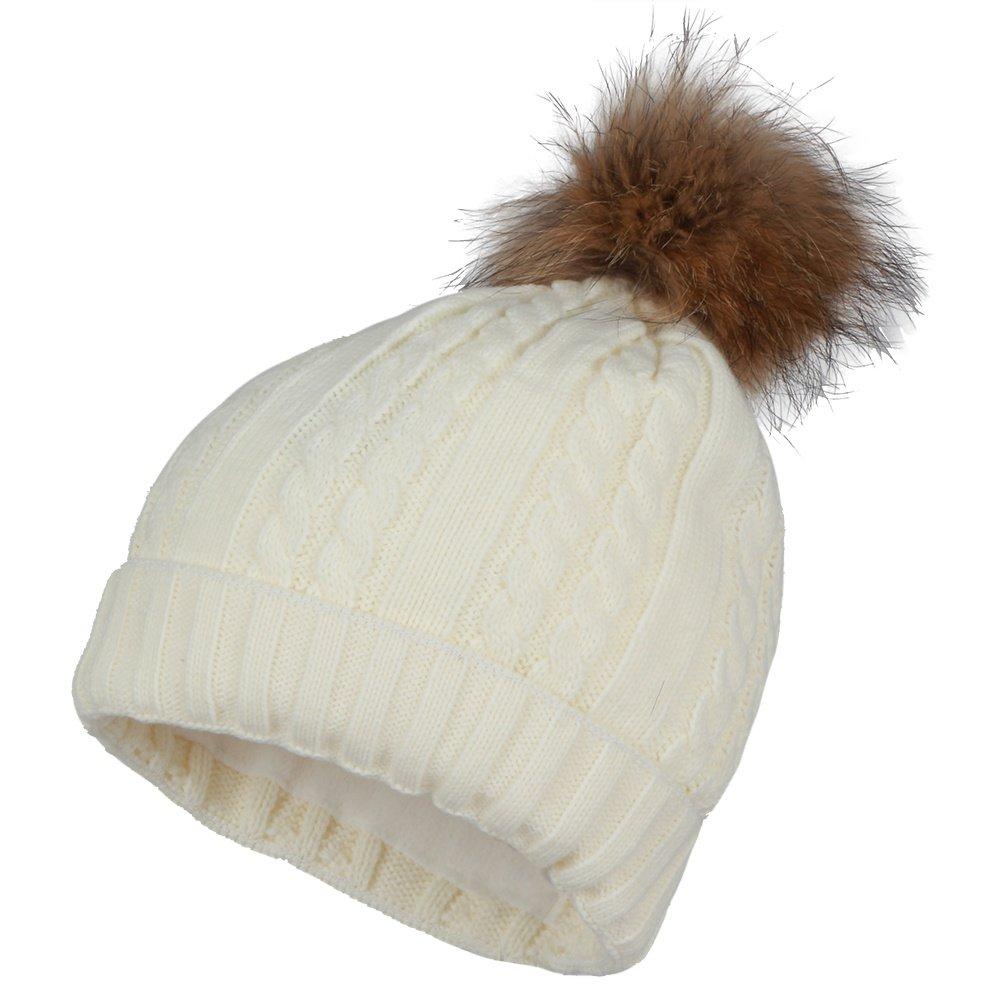 Peter Glenn Cable Hat with Pom (Women's) - Ivory/Finn