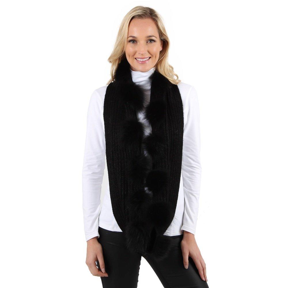 Peter Glenn Sparkle Knit Scarf with Fox Fur (Women's) - Black