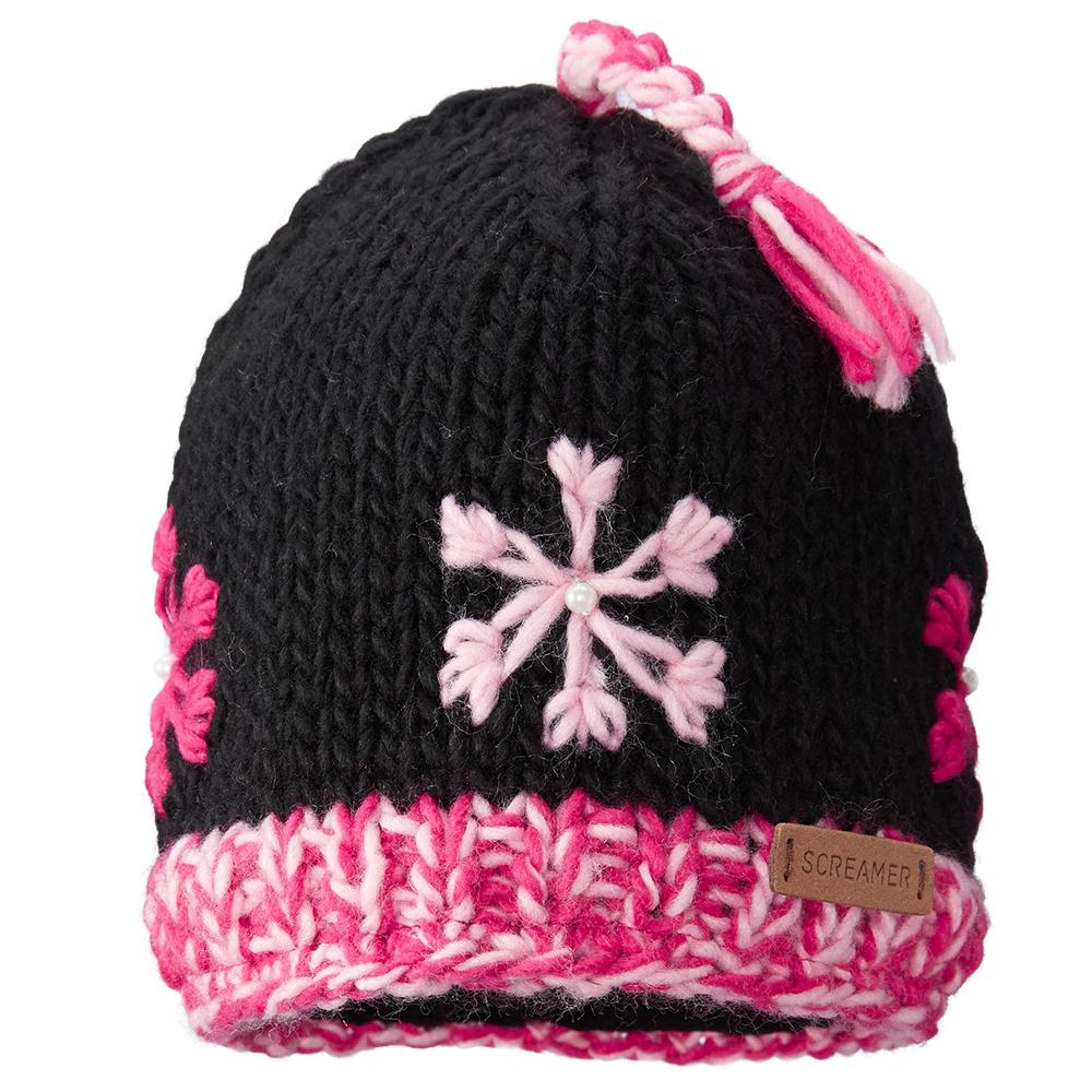 Screamer Snowflake Hat (Girls') - Black