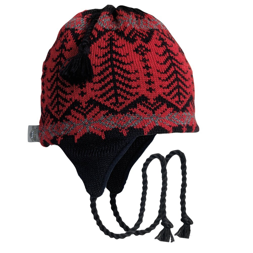 Turtle Fur Twiggly Earflap Ski Hat (Adults') - Cardinal