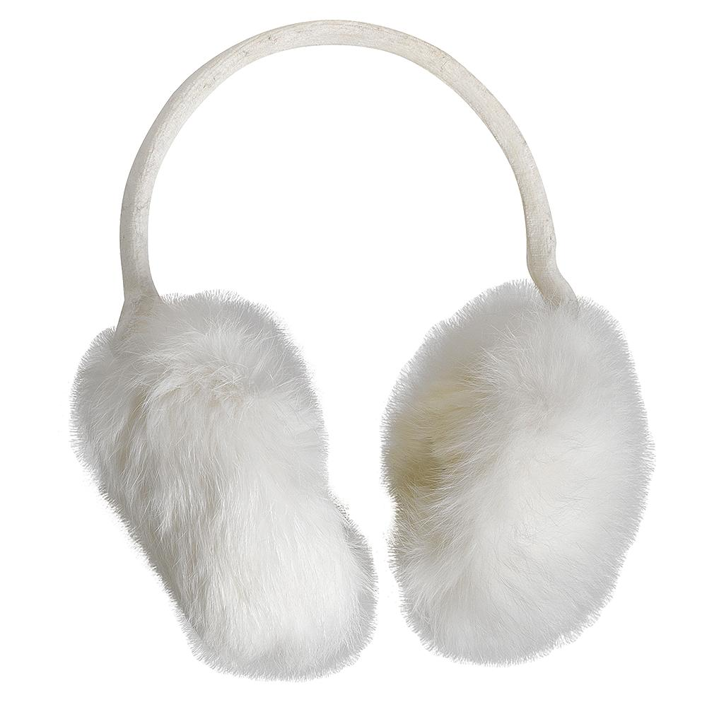 Turtle Fur Lucky Rabbit Fur Earmuffs (Women's) - Ivory