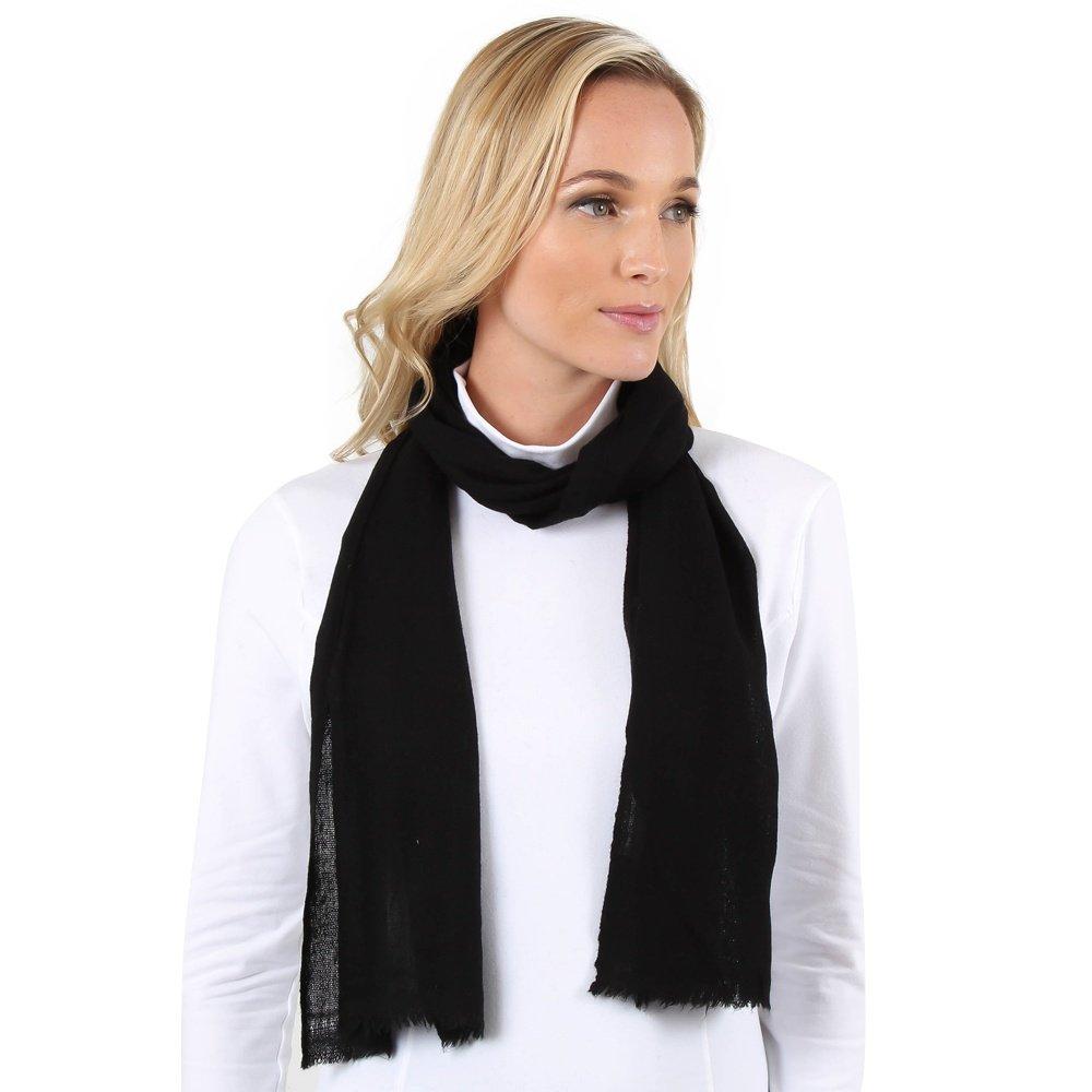 Elan Blanc Cashmere Woven Muffler Scarf (Women's) - Solid Black