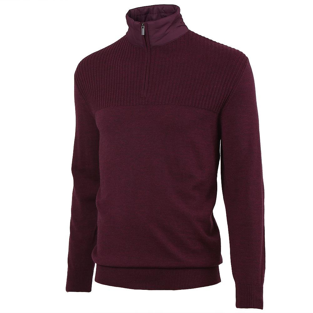 Bugatchi Wool Half Zip Sweater (Men's) - Bordeaux