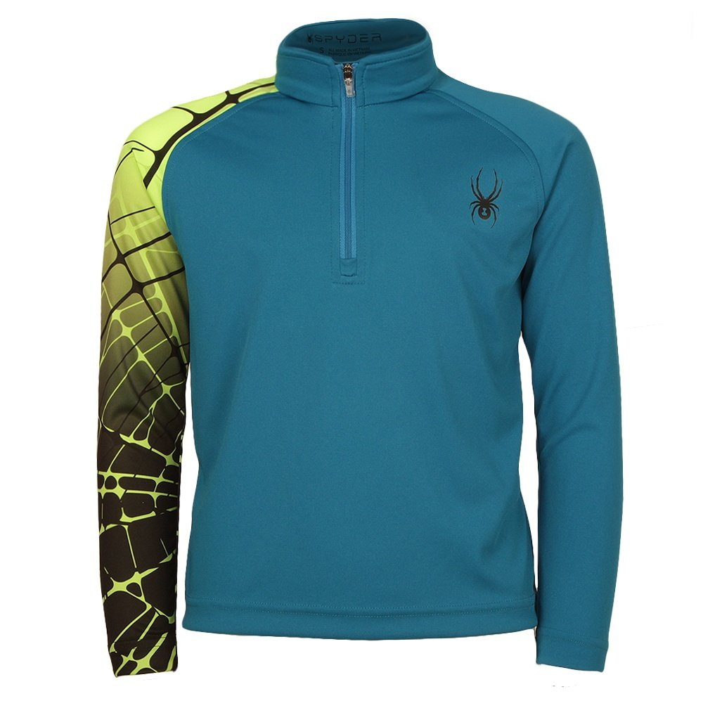 Spyder Mini Leader Dry Web Turtleneck (Little Boys') - Concept Blue/Bryte Green