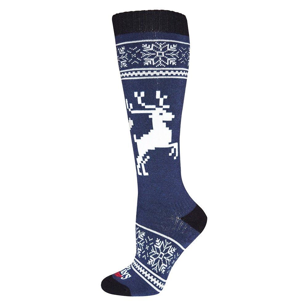 Hot Chillys Holiday Fever Mid Volume Ski Sock (Women's) - Holiday Fever/Lapis