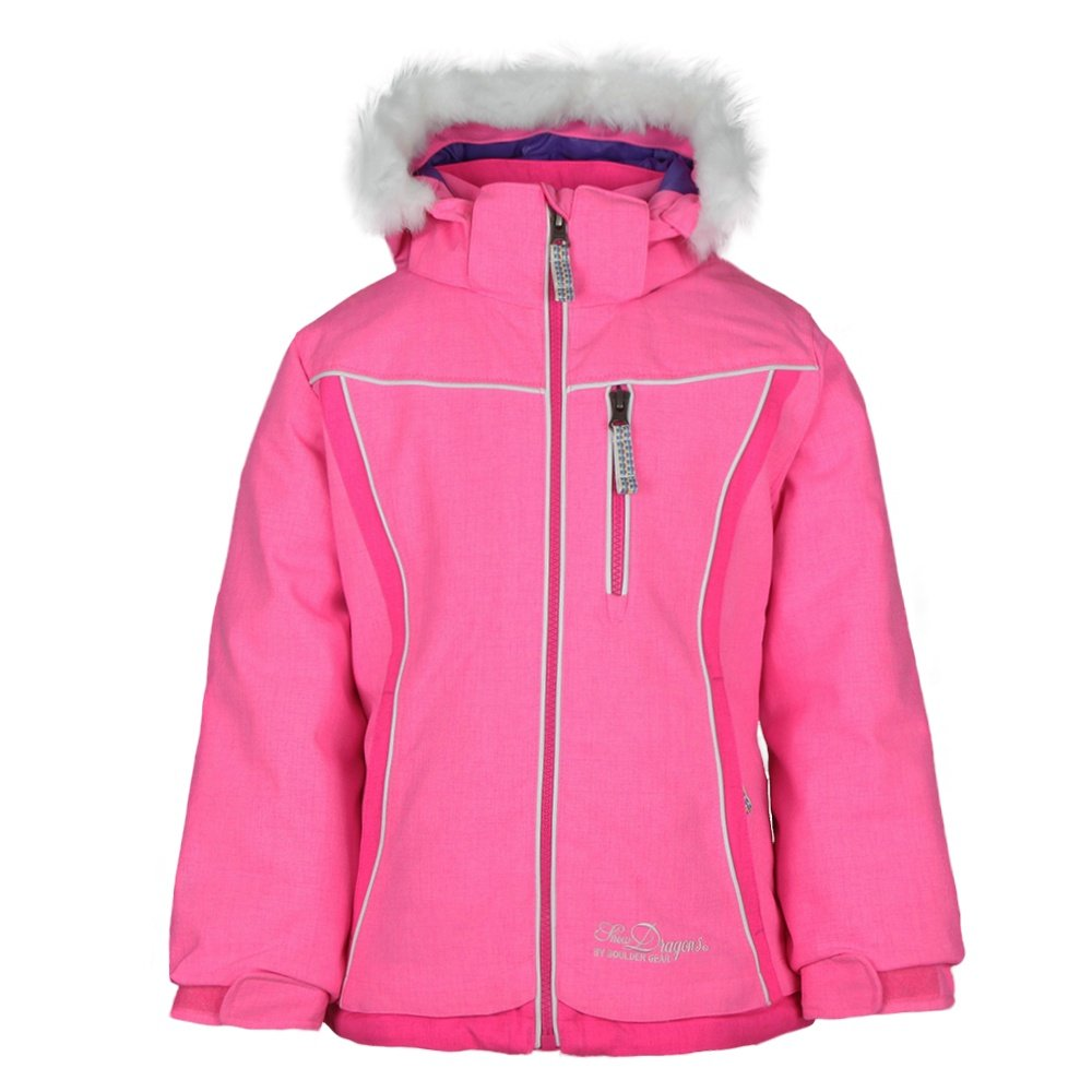 Snow Dragons Foxy Ski Jacket (Little Girls') - Pink Glo/Pink Shock/White
