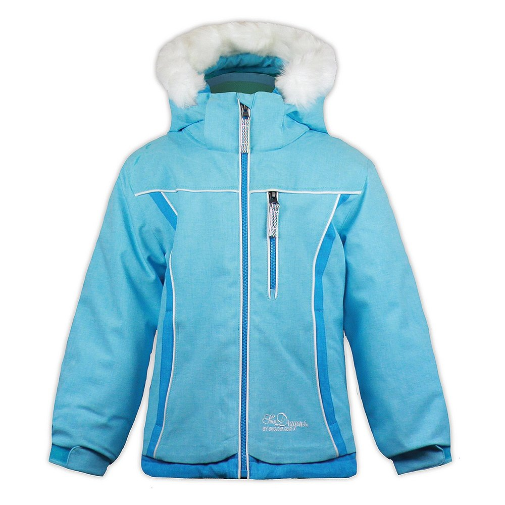 Snow Dragons Foxy Ski Jacket (Little Girls') - Bluefish/Diva Blue/White
