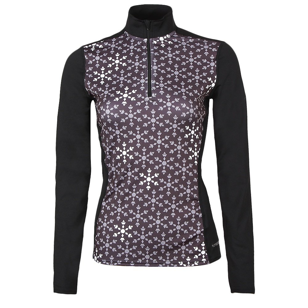 Hot Chillys Micro Elite Chamois Print Zip-T Mid-Layer Top (Women's) - Ice Crystals/Black