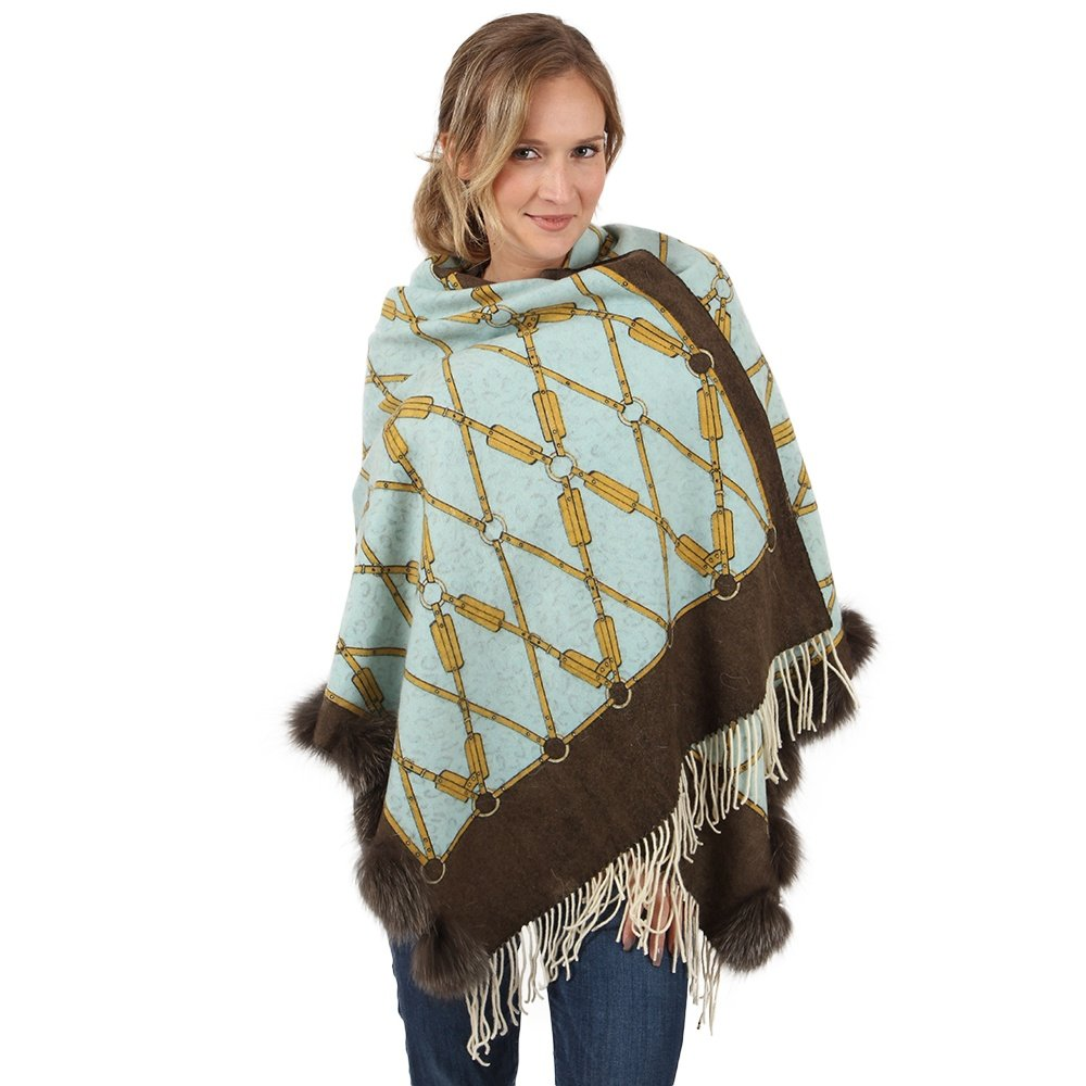 Peter Glenn Reversible Scarf with Fox Trim (Women's) - Aqua