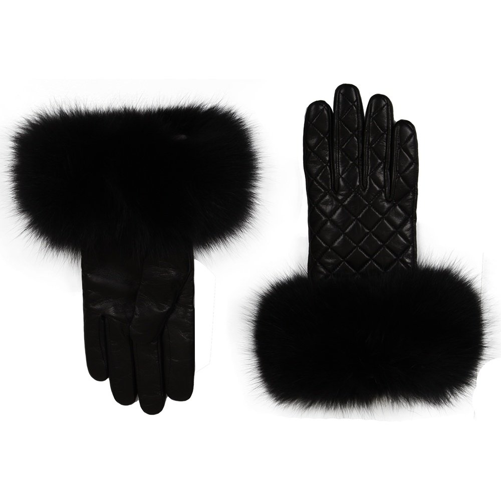 Peter Glenn Quilted Leather Glove with Fox Fur (Women's) - Black/Black Fox