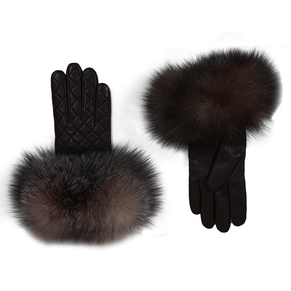 Peter Glenn Quilted Leather Glove with Fox Fur (Women's) - Brown/Crystal Fox