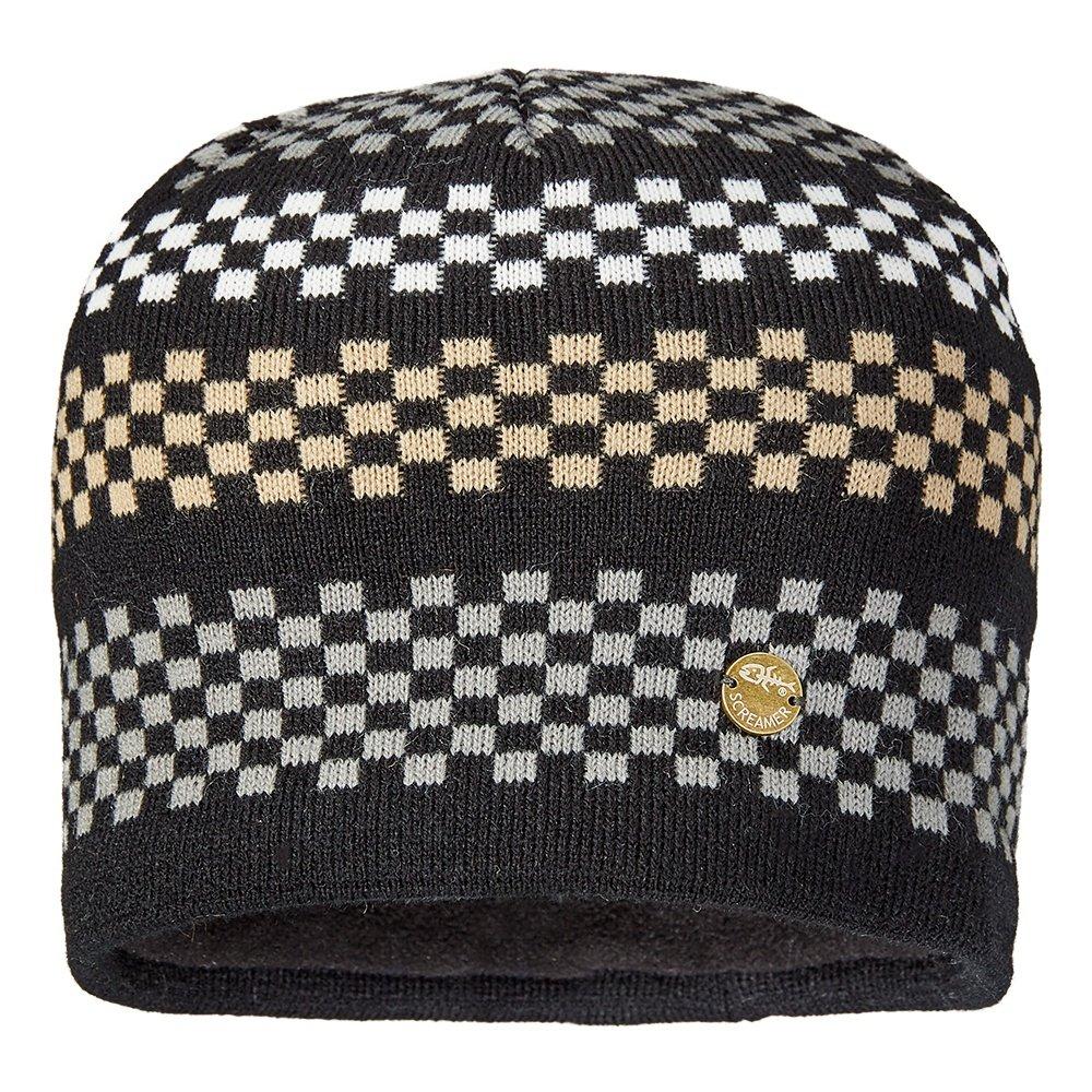 Screamer Checkerboard Beanie (Men's) - Black/Stainless/Latte