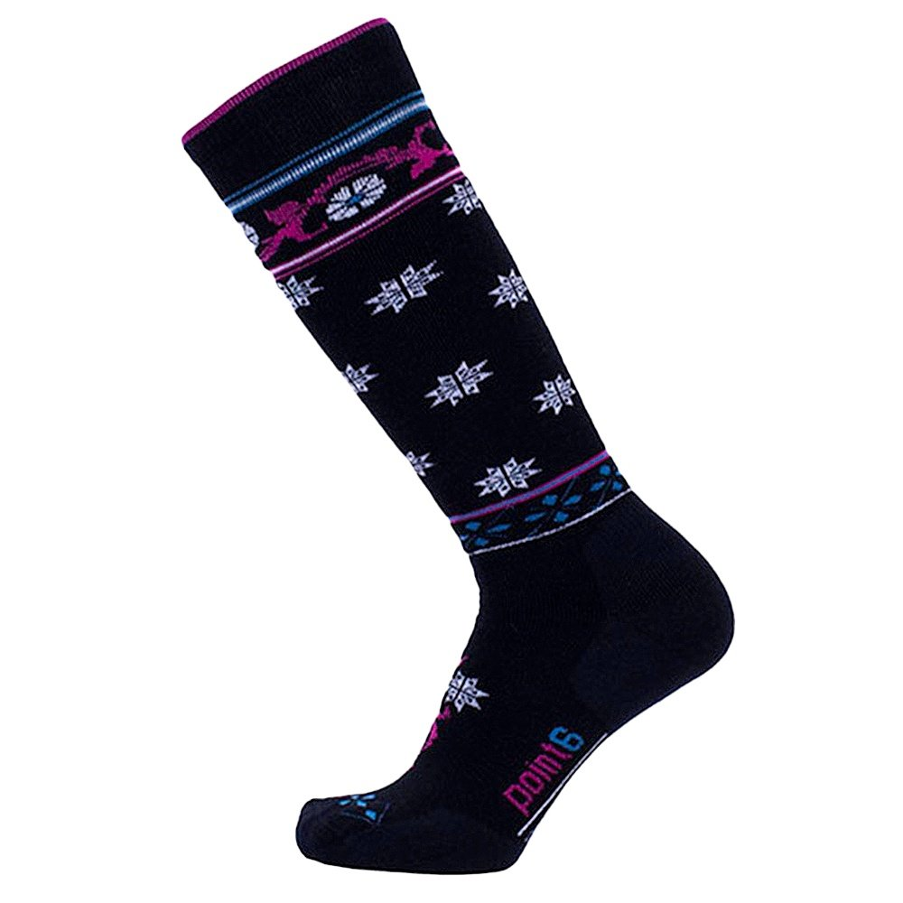 Point6 Medium Flourish Sock (Women's) - Black