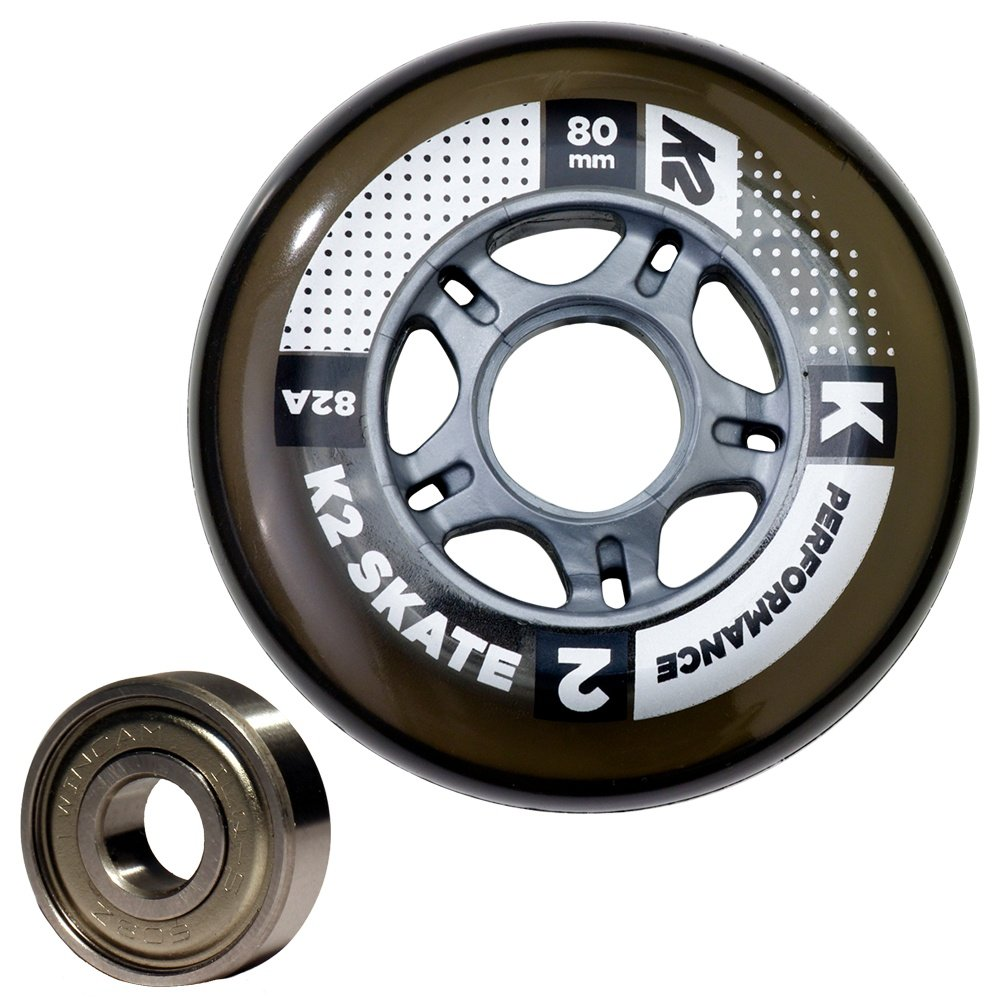 K2 Performance 80mm Inline Skate Wheel & Bearing 8-Pack Kit  - Smoke