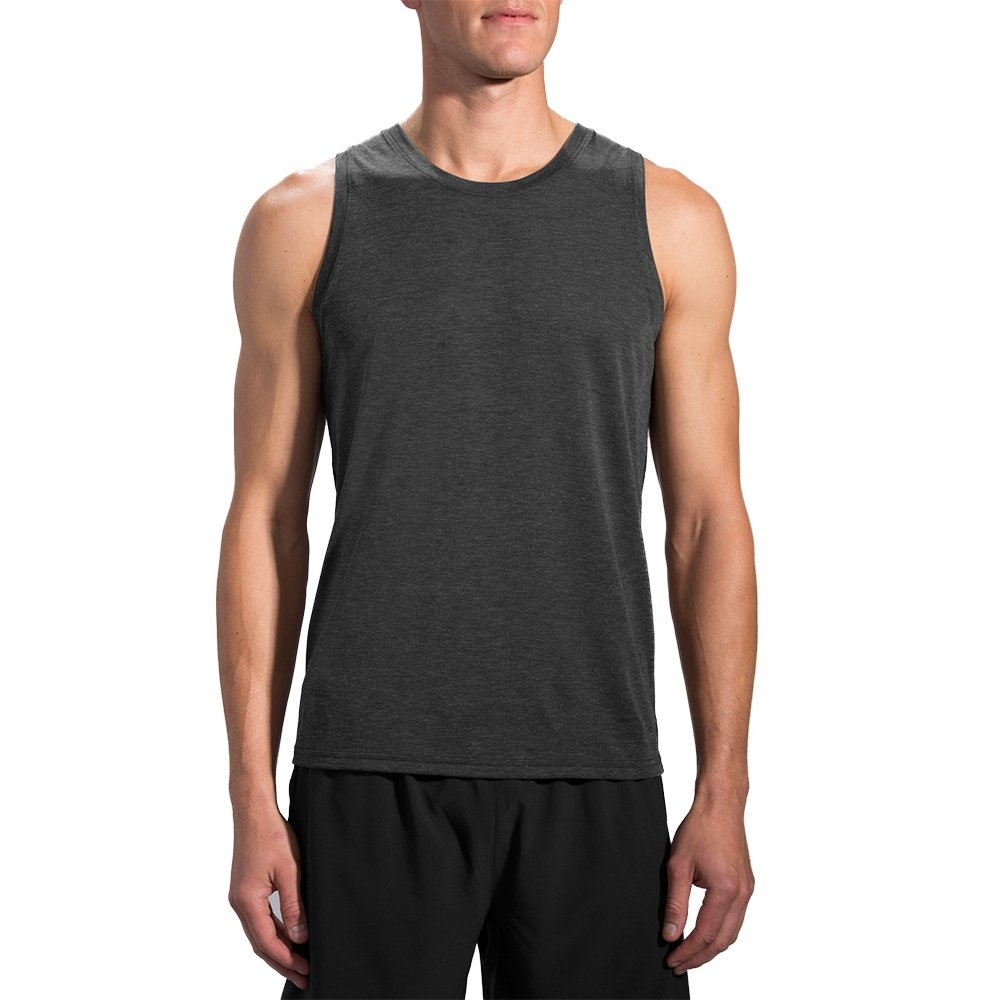 Brooks Distance Tank Top (Men's) - Heather Black