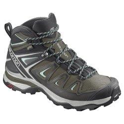 Olive Night/Black/Castor Grey Salomon X Ultra 3 Mid GORE-TEX Hiking Boot (Women\'s)
