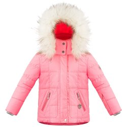 Punch Pink Poivre Blanc Funline Insulated Ski Jacket with Faux Fur (Little Girls\')