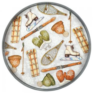 Image of rockflowerpaper Winter Sports 18 inch Round Serving Tray