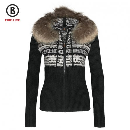 Bogner Fire + Ice Naomi Full Zip Knit Sweater with Real Fur (Women's) -