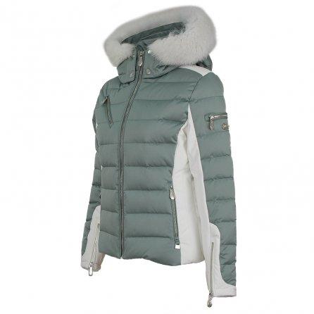 Nils Ula Down Ski Jacket with Real Fur (Women's) - Celedon/White